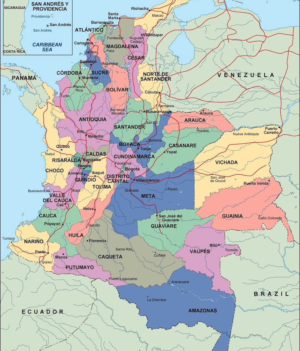 mapa politico de colombia 20174