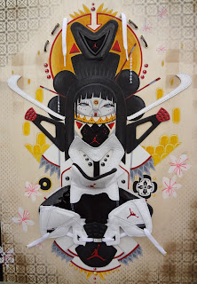 "Air Geisha Floral, Acrylic and aerosol with deconstructed Jordan sneaker and cotton laces on wood panel, 20"" x 24"", $3,000"