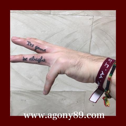 ワンポイントタトゥー画像、指、筆記体、英文字、書体、フォント、デザイン、アルファベット、It's gonna be alright、W.W.J.D. ブレスレット、What Would Jesus Do、刺青デザイン画像、タトゥーデザイン画像、タトゥースタジオ アゴニー アンド エクスタシー、初代彫迫、ブログ、ほりはく日記、刺青 彫迫、http://horihaku.blogspot.com/