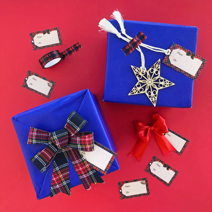 etiquetas de regalos, envoltura, adornos, estampado, ecocés, Navidad, fiestas