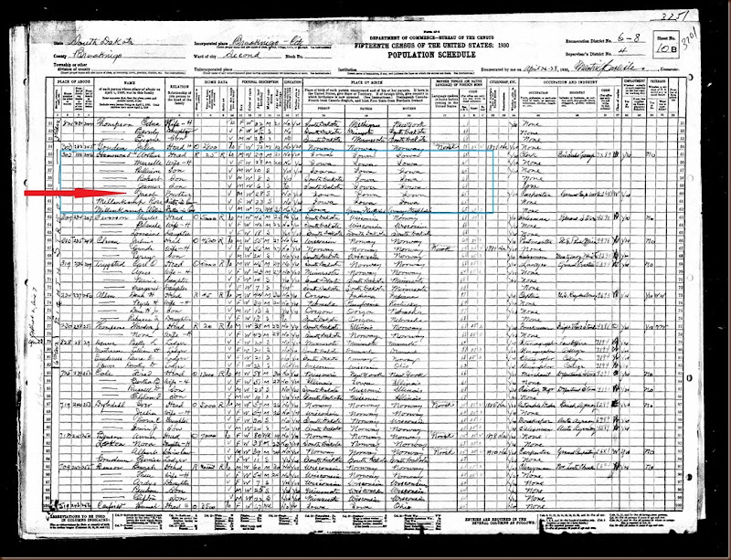 Hammond Jacob 1930 census highlighted