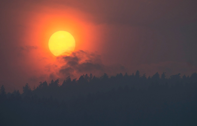 Smoke is seen rising in front of the sun as a wild fire burns near Little Fort, B.C. Tuesday, 11 July 2017. More than 100 wild fires were burning throughout British Columbia, forcing thousands of residents to be on evacuation standby. Photo: Jonathan Hayward, The Canadian Press