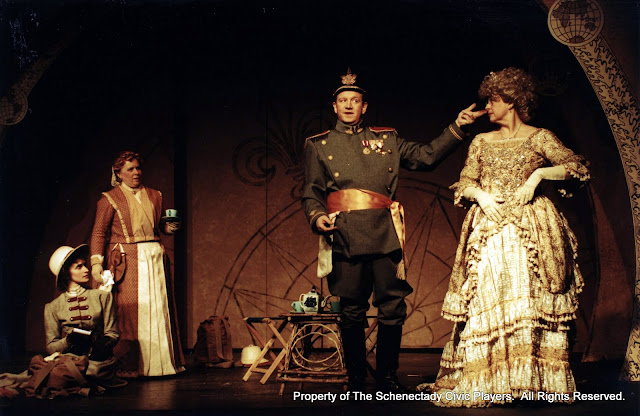 Eileen McCashion, Christine Boice Saplin, Colin McCarty and Rita Russell in ON THE VERGE - January/February 2000.  Property of The Schenectady Civic Players Theater Archive.