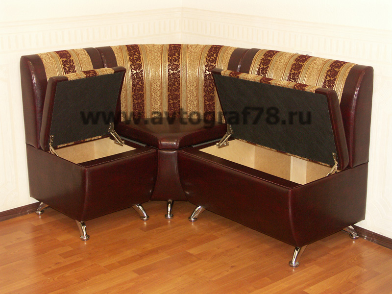 "Кухонный уголок ""Дипломат"" 1300х1600 мм (Molero 290 - Blanc polosa Bordo) с открытыми сидениями"