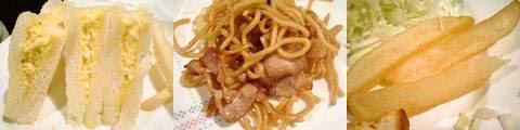 たまごサンド、焼きそば、フライドポテト(【愛知県一宮市】ピッツェリア・ロマーノ)