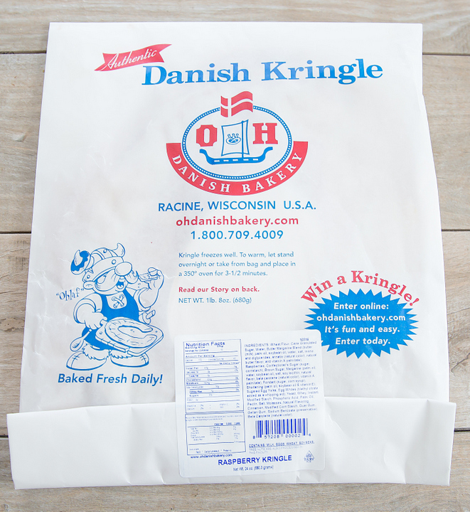 photo of a Raspberry Danish Kringle pastry sack
