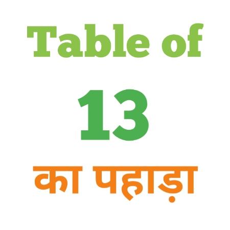 13 Ka Pahada ( 13 का पहाड़ा ) 13 ka pahada in hindi - Group Exam