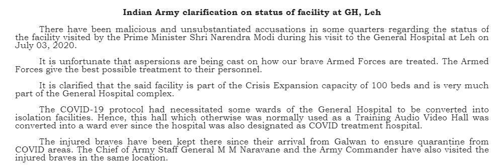 indian army clarification on Pm modi leh hospital visit KPP
