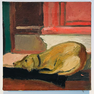 Oil Painting, Resting Dog