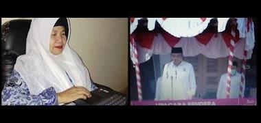 Kepala MTsN 1 Kota Padang Hj. Rifdawati Ikuti Upacara Peringatan Hari Guru Nasional ke-75.