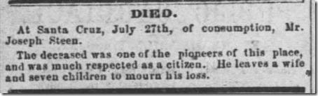Joseph Steen Obituary Santa Cruz Weekly Sentinel 4 Aug 1866 Sat Page 2