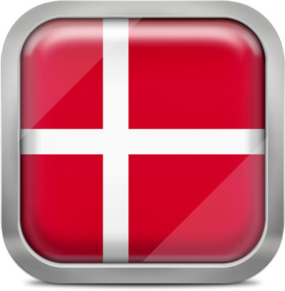 Denmark square flag with metallic frame