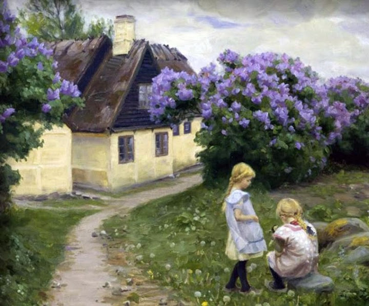 Hans Andersen Brendekilde - Playing girls in the garden