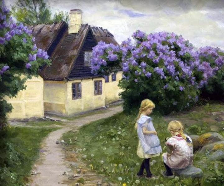 Hans Andersen Brendekilde - Playing girls in the garden