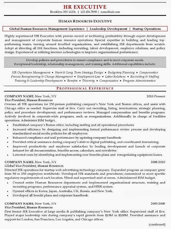 Human Resources Resume Sample Human Resources Resume Example