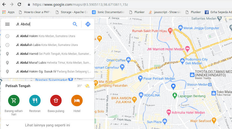 Cari alamat atau nama tempat
