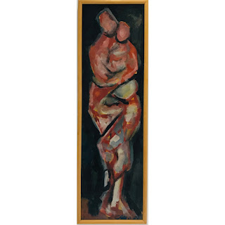 Signed Expressionist Style Mother and Child Oil Painting