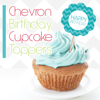Free Printable Chevron Pattern Birthday Cupcake Toppers