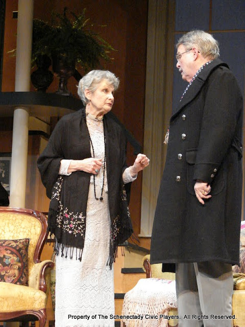 Joanne Westervelt and Richard Harte in THE ROYAL FAMILY (R) - December 2011.  Property of The Schenectady Civic Players Theater Archive.