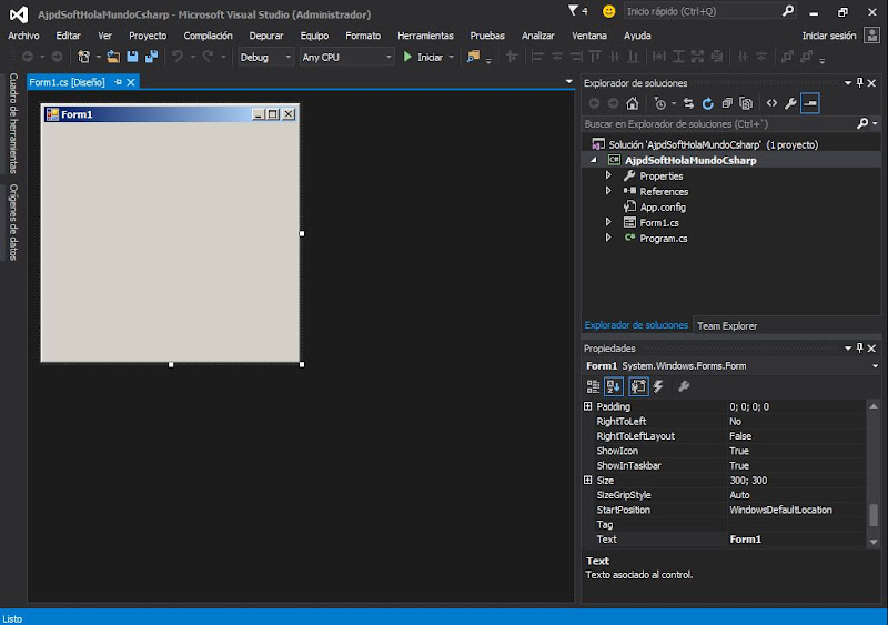 Primera aplicación Visual Studio .NET Community 2015 en C# C Sharp Hola Mundo