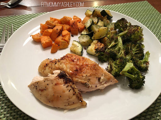 whole 30, 21 day fix, oven roasted, chicken, vegetables, easy, one dish meal, dinner, sunday