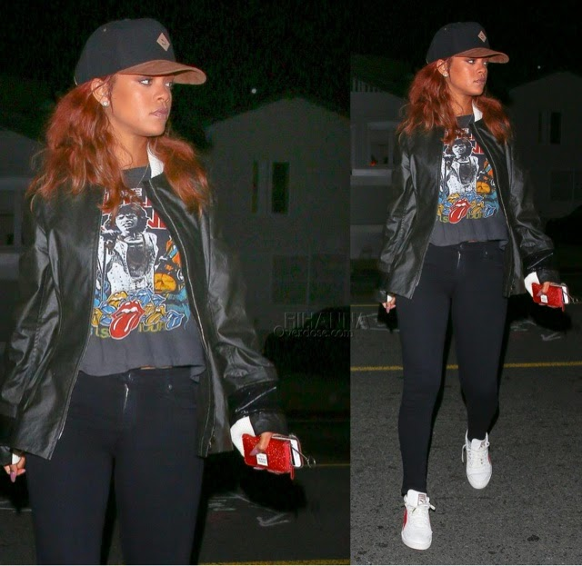 Rihanna in Chapel NYC vintage Rolling Stones Shirt