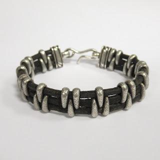 David Yurman Sterling Silver and Leather Bracelet