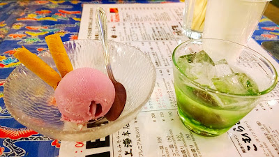 Dessert at the bar of Shin Yokohama Ramen Museum included shochu and sweet potato ice cream