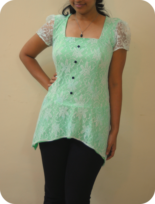 Gunmetal pattern dresfrom Lolita patterns made with lace and mint color knit fabric very feminine and lovey fitted top