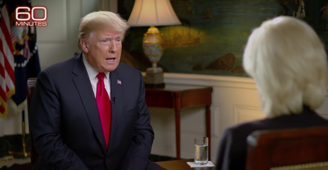 Trump deines that global warming is causd by humans in an interview on 60 Minutes, 14 October 2018. Photo: CBS