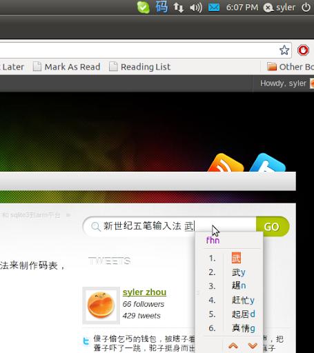 在ubuntu x64下使用ibus平台,进行新世纪五笔的输入。