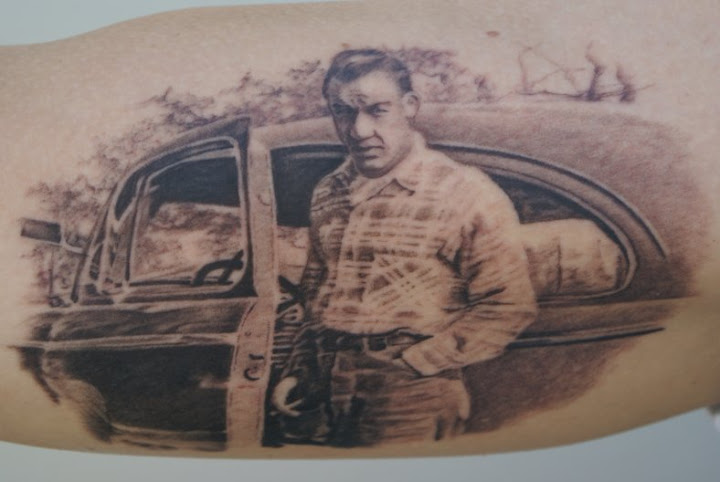 Man in Plaid with Car