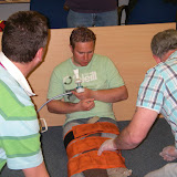 Casualty Care for Lifeboat Crew course – April 2011: fracture straps being used to immobilise an open leg fracture; emergency care bandage and Entonox also used