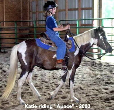 Katie riding Apache