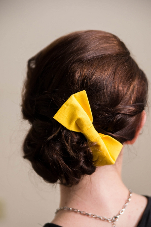 Big yellow hair bow for bride