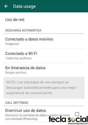 WhatsApp -Uso de datos