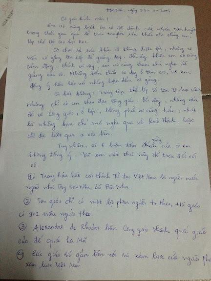 Lá thư gửi cô giáo của bạn Nguyễn Văn Thiển - SV ĐH Văn Hóa