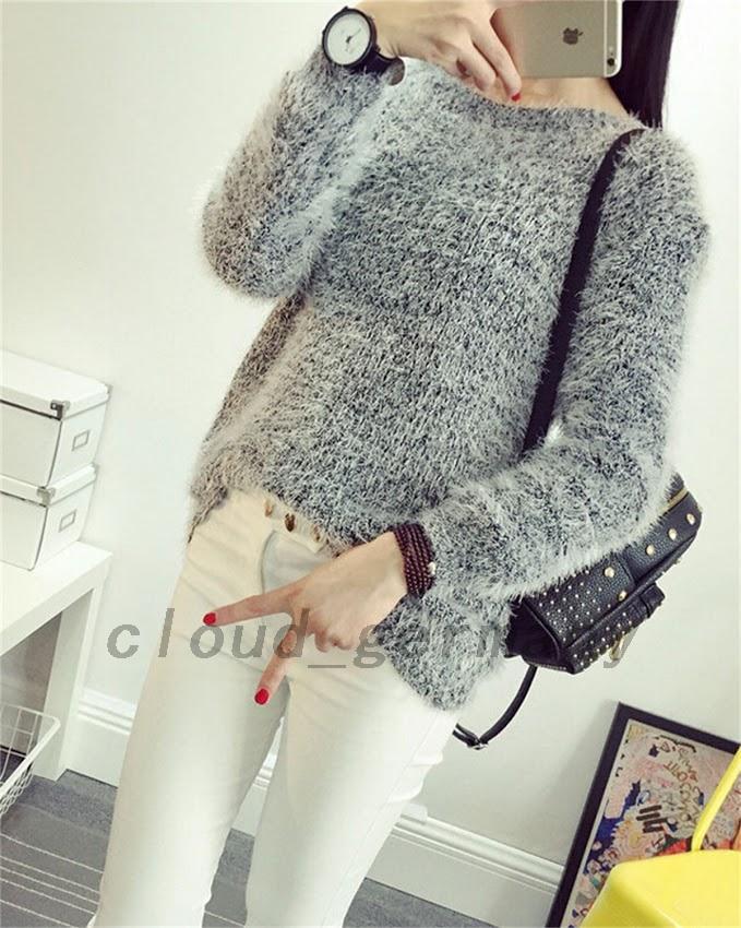 superbe femme pull pullover en mohair sweater tricot. Black Bedroom Furniture Sets. Home Design Ideas