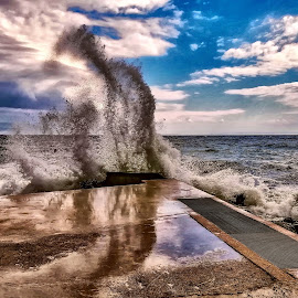 Wave loves the sky by Borna Cuk - Nature Up Close Water ( sky, dramatic, clouds, water, wave )