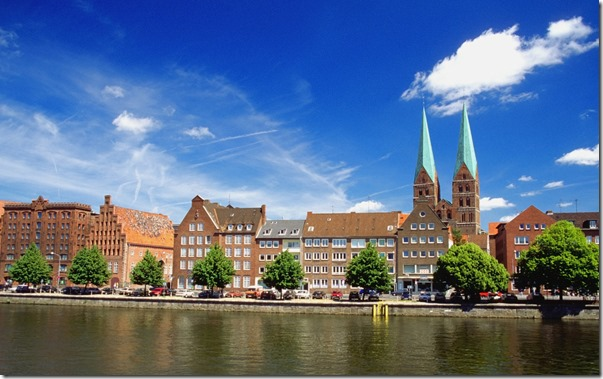 Buildings along the Trave riverside in Lübeck, Germany