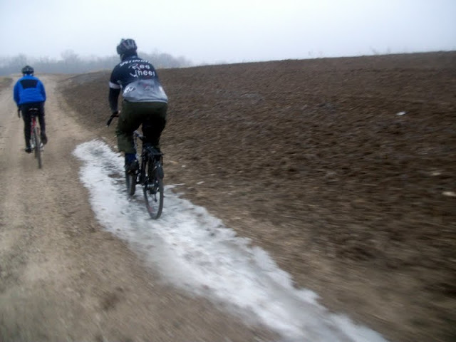 Bob riding ice on gravel