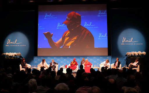 His Holiness the Dalai Lama at the Université de Lausanne, Switzerland, April 15, 2013. Photo by Jon Schmidt.