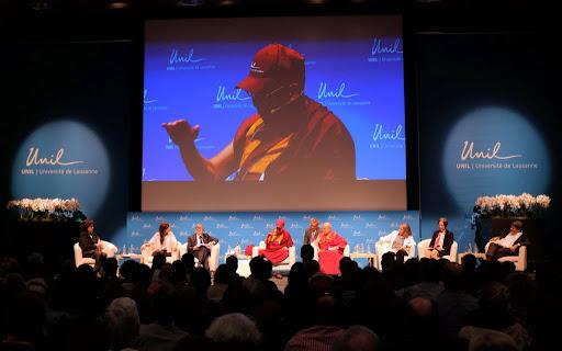 His Holiness the Dalai Lama at the Université de Lausanne, Switzerland, April 15, 2013. Photo by Jon Schmidt.