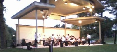 The first performance of the newly-formed MVCB Swing Band at the Aug 24, 2012, concert at the Pavilion.