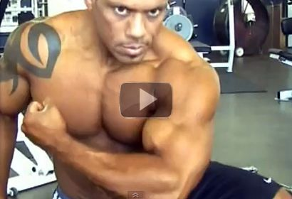 Bodybuilder Leroy Cedillo Trains, Poses