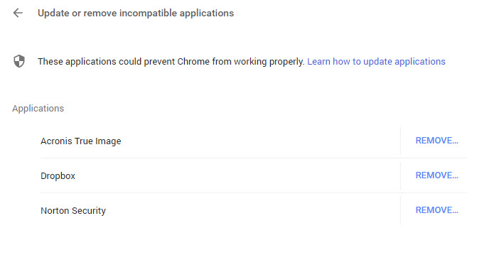 Why is Chrome/Settings//Update or remove incompatible