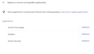 Why is Chrome/Settings//Update or remove incompatible applications