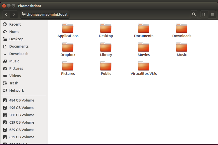 Nautilus file manager showing my folders in thomas briant