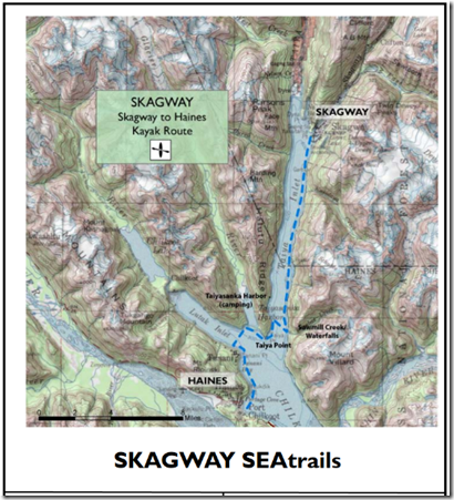 Map of Skagway to Haines via Kayak, from www.seatrails.org