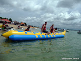 Redo för lite lekstuga i vattnet utanför Nusa Dua, Bali.